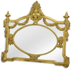 Casa Padrino baroque mirror gold 131 x H. 116.5 cm - Wardrobe mirror - Living room mirror - Magnificent wall mirror in baroque style
