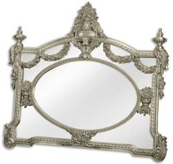 Casa Padrino Barock Spiegel Silber 131 x H. 116,5 cm - Garderoben Spiegel - Wohnzimmer Spiegel - Prunkvoller Wandspiegel im Barockstil