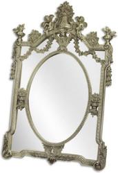 Casa Padrino Barock Spiegel Silber 105 x H. 160 cm - Garderoben Spiegel - Wohnzimmer Spiegel - Prunkvoller Wandspiegel im Barockstil