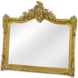 Casa Padrino Barock Spiegel Gold 111 x H. 103 cm - Garderoben Spiegel - Wohnzimmer Spiegel - Prunkvoller Wandspiegel im Barockstil