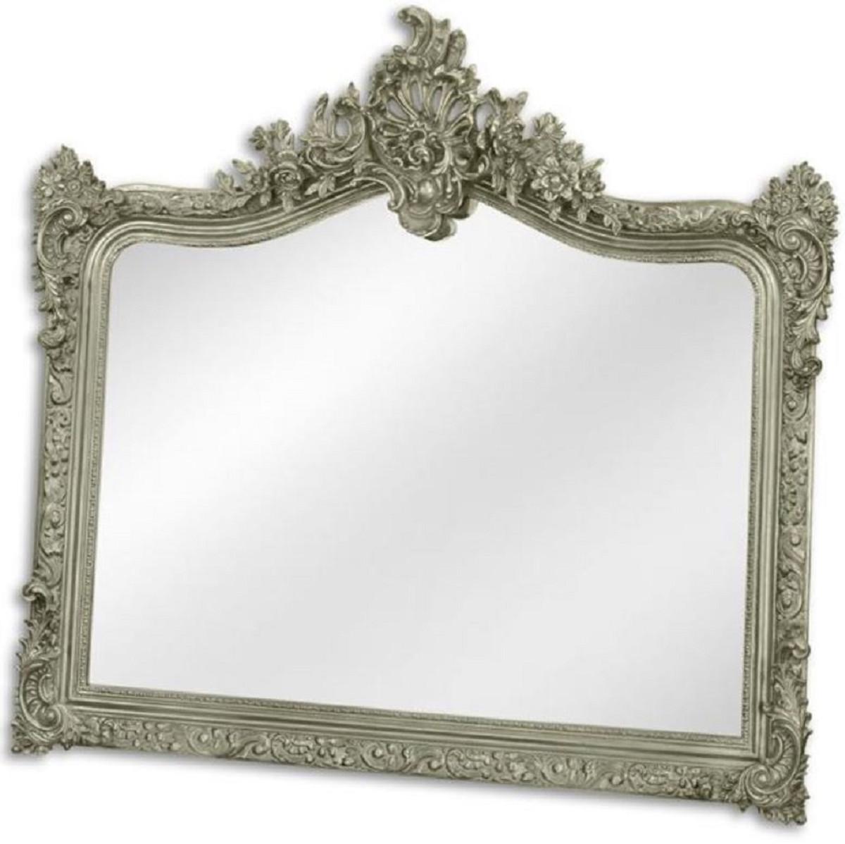 Casa Padrino Barock Spiegel Silber 7 x H. 7 cm - Garderoben Spiegel -  Wohnzimmer Spiegel - Prunkvoller Wandspiegel im Barockstil