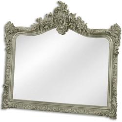 Casa Padrino Barock Spiegel Silber 111 x H. 103 cm - Garderoben Spiegel - Wohnzimmer Spiegel - Prunkvoller Wandspiegel im Barockstil