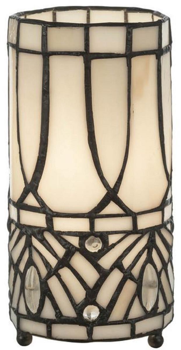 Casa Padrino Lampada Da Tavolo Tiffany Di Lusso Bianco Nero O 10 X A 20 Cm Lampada Da Sgabello Rotonda Lampada Da Scrivania Lampada Decorativa Casa Padrino De