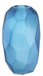 Casa Padrino luxury decorative glass vase matt blue Ø 16 x H. 27 cm - Hand Blown Flower Vase - Luxury Decoration Accessories