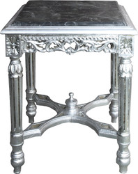 Casa Padrino Baroque side table square silver with black marble top 41 x 41 x H 52 cm antique style - flower telephone table