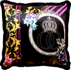 Huge XXL luxury baroque pillow Purple / Black Pompöös by Casa Padrino by Harald Glööckler 80 x 80 cm with sparkling rhinestones