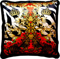 "Huge XXL luxury baroque pillow ""Crowns & Roses"" Pompöös by Casa Padrino by Harald Glööckler 80 x 80 cm with sparkling rhinestones"