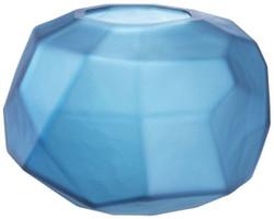 Casa Padrino luxury decorative glass bowl matt blue Ø 22 x H. 15 cm - Luxury Decorative Accessories