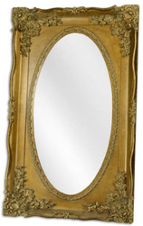 Casa Padrino baroque mirror gold 94 x H. 154.5 cm - Ornate oval wall mirror in baroque style