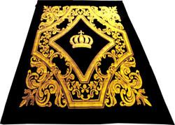 Luxury blanket Pompöös by Casa Padrino Baroque crown black / gold by Harald Glööckler with rhinestones