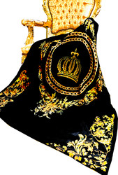 Luxury blanket Pompöös by Casa Padrino Baroque Chains & Crown Black / Gold by Harald Glööckler with rhinestones