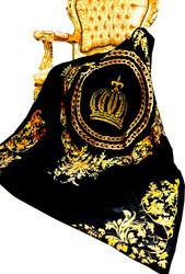 Luxus Wohndecke Pompöös by Casa Padrino Barock Chains & Crown Schwarz / Gold von Harald Glööckler mit Glitzersteinen