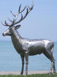 Casa Padrino luxury garden decoration sculpture deer silver 175 x 100 x H. 208 cm - Stainless Steel Garden Decoration Figure - Weatherproof Garden Figure