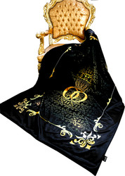 Luxury blanket Pompöös by Casa Padrino Baroque crown black / gold by Harald Glööckler with rhinestones