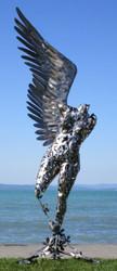 Casa Padrino Designer Gartendeko Skulptur Engel Silber 122 x 105 x H. 305 cm - Riesige Gartenfigur - Luxus Garten Dekoration