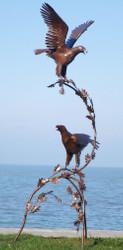Casa Padrino luxury garden decoration sculpture pair of eagles on branch rust 102 x 98 x H. 270 cm - Garden Decoration