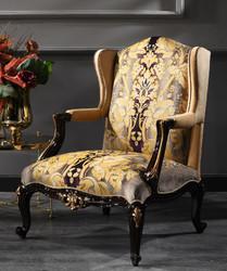 Casa Padrino luxury baroque armchair beige / black / gold 79 x 80 x H. 108 cm - Noble living room armchair in baroque style - Luxury Quality