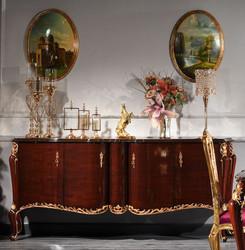 Casa Padrino Luxus Barock Sideboard Dunkelbraun / Gold 224 x 57 x H. 105 cm - Edler Schrank mit Glasplatte und 4 Türen - Barock Möbel