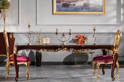 Casa Padrino Luxus Barock Esszimmer Set - 1 Esstisch & 6 Esszimmerstühle - Esszimmermöbel im Barockstil - Luxus Qualität - Made in Italy