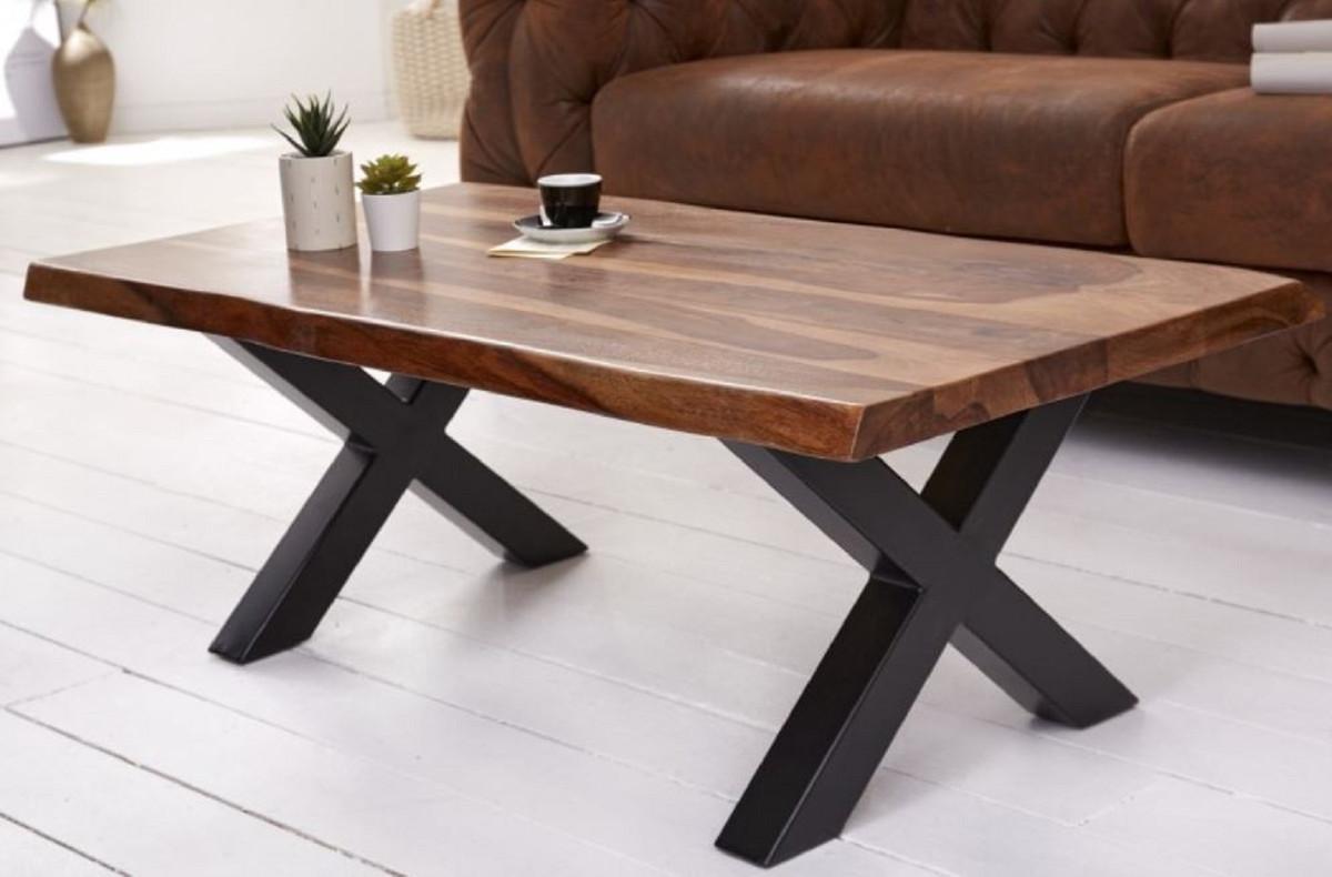 - Casa Padrino Solid Wood Coffee Table With Metal Legs Brown / Black