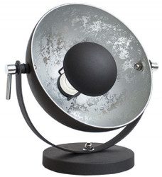 Casa Padrino designer table lamp black / silver 30 x H. 40 cm - Adjustable retro decorative lamp in studio lighting design