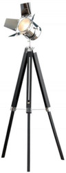 Casa Padrino retro studio lamp black / silver 65 x H. 140 cm - Height adjustable tripod floor lamp with tilt & swiveling lampshade - Retro living room lamp