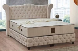 Casa Padrino baroque double bed beige / black - Noble velvet bed with mattress - Bedroom furniture in baroque style