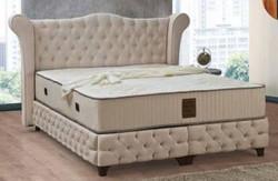 Casa Padrino Barock Doppelbett Beige / Schwarz - Edles Samt Bett mit Matratze - Schlafzimmer Möbel im Barockstil