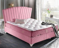 Casa Padrino baroque double bed pink / white - Noble velvet bed with mattress - Baroque Bedroom Furniture