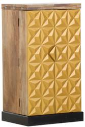 Casa Padrino Landhausstil Barschrank mit 2 Türen Naturfarben / Gold / Schwarz 59-117 x 48 x H. 113 cm - Massivholz Weinschrankschrank - Barmöbel im Landhausstil