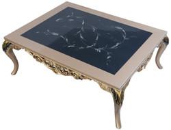Casa Padrino Luxus Barock Couchtisch mit Glasplatte Silber / Schwarz / Gold 128 x 95 x H. 46 cm - Prunkvoller Wohnzimmertisch mit elegantem Muster - Wohnzimmer Möbel im Barockstil