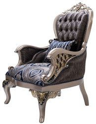 Casa Padrino luxury baroque armchair with decorative pillow blue / silver / gold 81 x 85 x H. 119 cm - Baroque living room armchair - Baroque Furniture