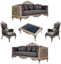 Casa Padrino luxury baroque living room set blue / silver / gold - 2 Sofas & 2 Armchairs & 1 Coffee Table - Ornate Baroque Living Room Furniture