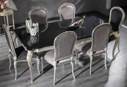 Casa Padrino Luxus Barock Esszimmer Set - 1 Esstisch mit Glasplatte & 6 Esszimmerstühle - Esszimmermöbel im Barockstil - Luxus Qualität - Edel & Prunkvoll