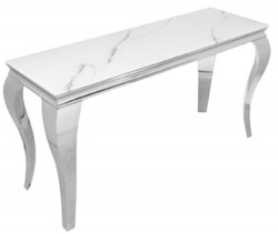 Casa Padrino designer console white / gray / silver 145 x 50 x H. 75 cm - Rectangular stainless steel console table with digitally printed safety glass in marble look - Modern baroque furniture
