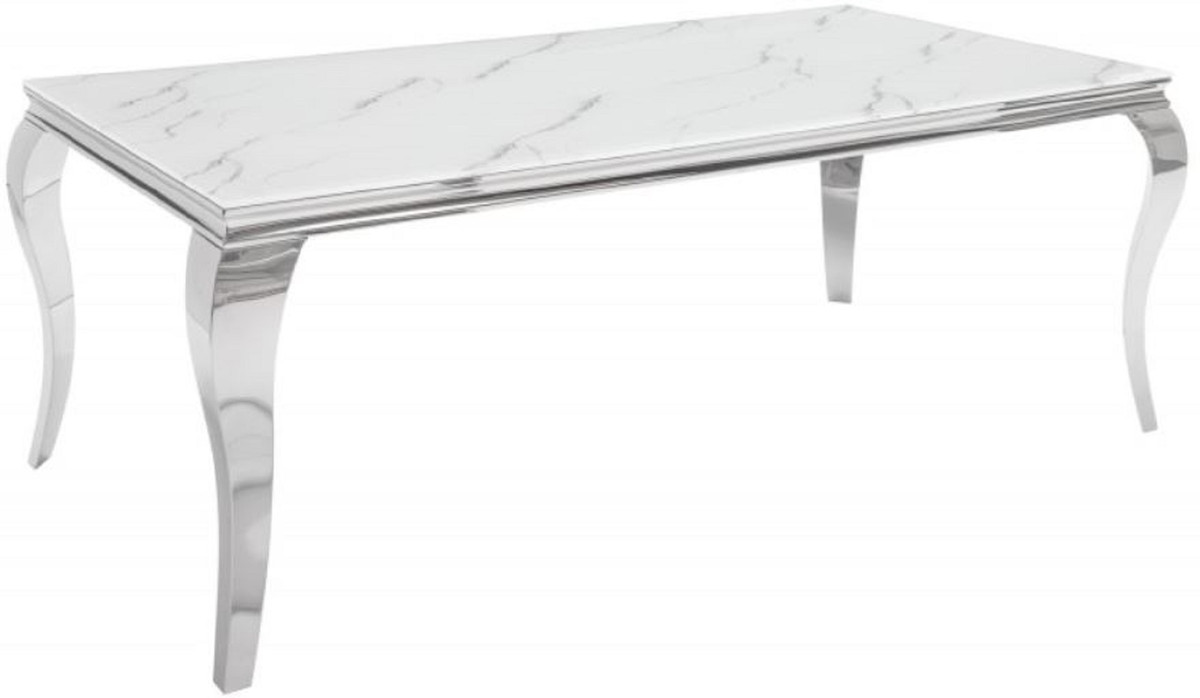 Casa Padrino Designer Dining Table White Gray Silver 200 X 105 X H 75 Cm Rectangular Stainless Steel Kitchen Table With Digitally Printed Safety Glass In Marble Look Modern Baroque Furniture