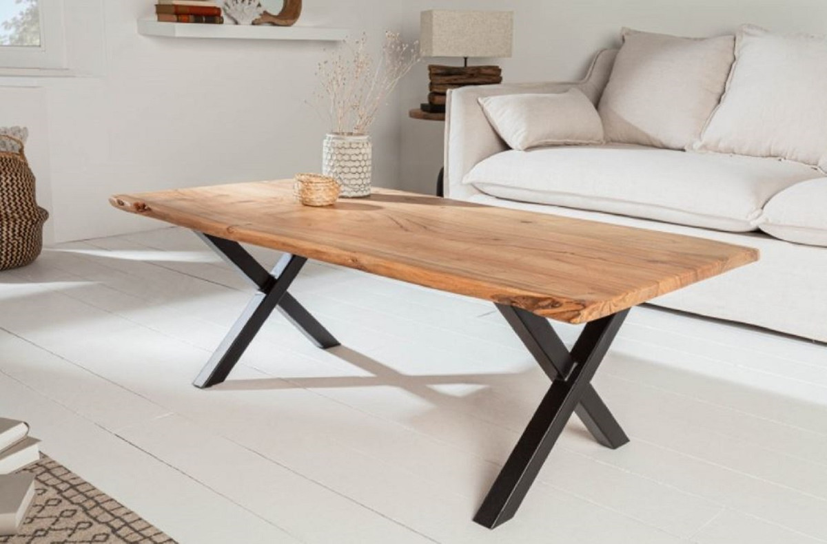 - Casa Padrino Solid Wood Coffee Table With Metal Legs Natural