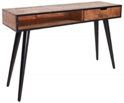 Casa Padrino solid wood console with metal legs natural / black 120 x 35 x H. 75 cm - Console table with drawer and storage compartment in industrial look - Living room furniture