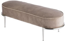 Casa Padrino luxury bench taupe / silver 120 x 50 x H. 47 cm - Padded velvet bench with stainless steel frame - Luxury Furniture