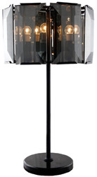 Casa Padrino luxury table lamp black / gray Ø 48 x H. 86 cm - Round table light with tinted glass and marble base - Luxury Collection