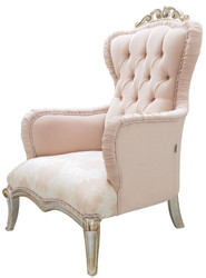 Casa Padrino luxury baroque living room armchair pink / silver / gold 100 x 80 x H. 110 cm - Noble Baroque Style Furniture