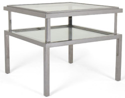 Casa Padrino luxury side table silver 65 x 65 x H. 55 cm - Modern table with tempered glass tops and stainless steel frame - Living room furniture