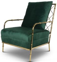Casa Padrino Luxus Samt Sessel Dunkelgrün / Gold 65 x 72 x H. 83 cm - Moderner Edelstahl Wohnzimmer Sessel in Bambusoptik - Luxus Möbel