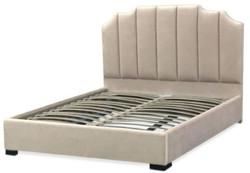 Casa Padrino Luxus Samt Doppelbett Elfenbeinfarben / Schwarz 193 x 212 x H. 140 cm - Massivholz Bett mit edlem Kopfteil - Schlafzimmer Möbel