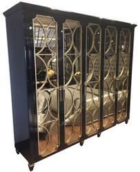 Casa Padrino luxury baroque bedroom cabinet black / gold 260 x 63 x H. 240 cm - Magnificent wardrobe with 5 mirrored doors - Luxury Quality