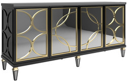 Casa Padrino luxury baroque sideboard black / gold 220 x 55 x H. 105 cm - Magnificent cabinet with 4 mirrored doors - Baroque Furniture