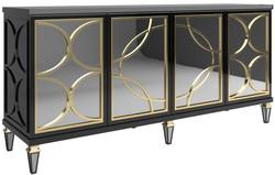 Casa Padrino Luxus Barock Sideboard Schwarz / Gold 220 x 55 x H. 105 cm - Prunkvoller Schrank mit 4 verspiegelten Türen - Barock Möbel