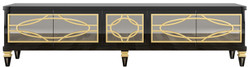 Casa Padrino luxury baroque TV cabinet black / gold 213 x 55 x H. 66 cm - Magnificent television cabinet with 5 mirrored doors - Baroque Furniture