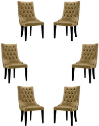 Casa Padrino luxury baroque dining chair set gold / black / silver 54 x 55 x H. 110 cm - Noble kitchen chairs with velvet fabric - Baroque chairs set of 6 - Dining Room Furniture