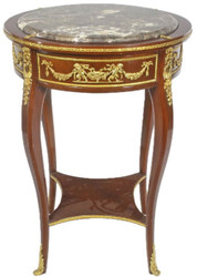 Casa Padrino baroque side table with marble top brown / gold Ø 45 x H. 75 cm - Round table in baroque style - Baroque Furniture